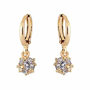 YAZILIND Charming 18K Gold Plated Cubic Clear Cubic Zirconia Dangle Drop Earrings for Women