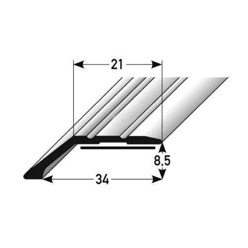 Aluminium Abschlussprofil 100cm – silber, 34 x 8,5mm ✓ Selbstklebend ✓ Robust ✓ Leichte Montage | Alu-Profil als professionelles Wandanschlussprofil | Wand-Abschlussleiste für Laminat & Parkett