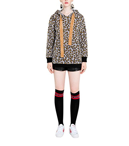 ZFANG Hoodie Sweatshirt mit Kapuze Pullover Tops Mantel Jacke kurze beiläufige lange Hülsen Leopard Plüsch Futter Hoodies OverCoat , leopard , m