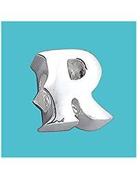 Plateado cuentas letra R 925 Pure de auténtica con texto grabado de plata de ley de letra cuenta de diseño de letra del alfabeto para diseño pulsera y cadenas - 3D cinta para el/off - Filoro