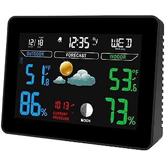 Estación Meteorológica Digital, con Reloj de Control de Sensor al Aire Libre, Termómetro de Temperatura Interior y Exterior, Pantalla Fácil de Leer para Casa Jardín