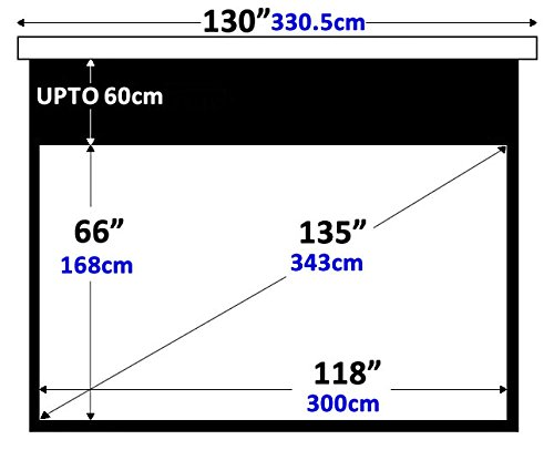 135 16 9 Matt White motorised remote control electric projector projection HD screen