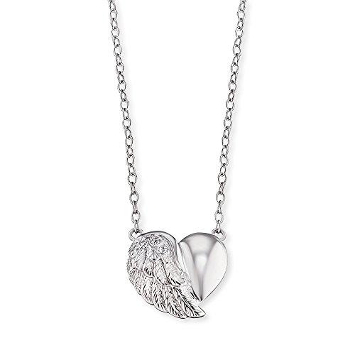 Engelsrufer Herzflügel Kette mit Anhänger für Damen 925er-Sterlingsilber Weiße Zirkonia Länge 40 cm + 4 cm