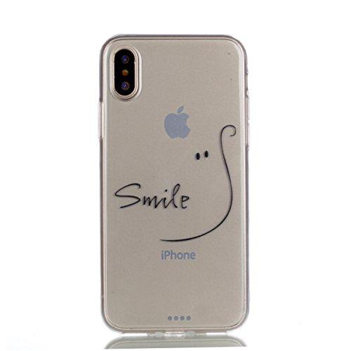 Cover per iPhone X Custodia per iPhone 10, Mosoris Ultra Sottile Morbido TPU Silicone Posteriore Corpeture Flessibile Trasparente Cristallo Gomma Gel Case Antiurto Protettiva Caso Anti Graffio Protezi smaile