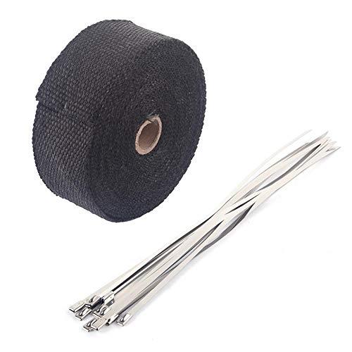 Preisvergleich Produktbild Wärmeisolierband,  Wärmeisolierband Auspuffband Auspuffhülle mit 10 Edelstahlkabelbindern,  10m x 50mm