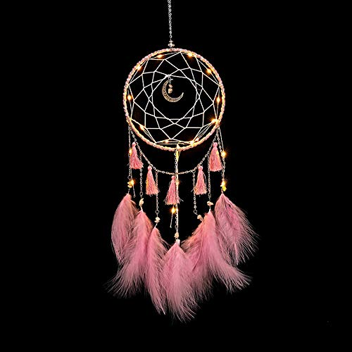 YIWAN Handmade Dream Catcher Wall decorationBoutique Windspiel Traumfänger Anhänger Quaste Mond mit Lichtern (pink) fertig -