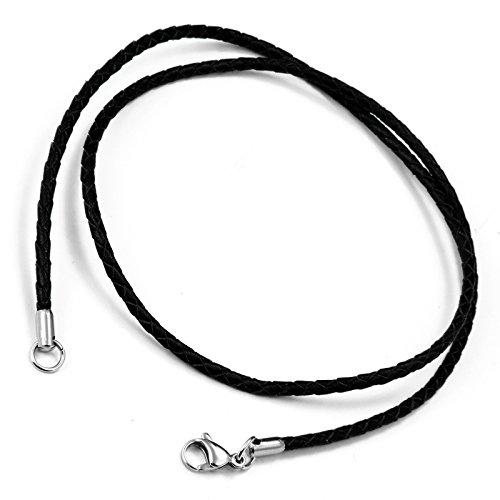 Cupimatch Unisex 2-in-1 Halskette und Armband aus geflochtenem Leder, 3 mm breit, ca. 58 cm lang, Karabinerverschluss aus Edelstahl