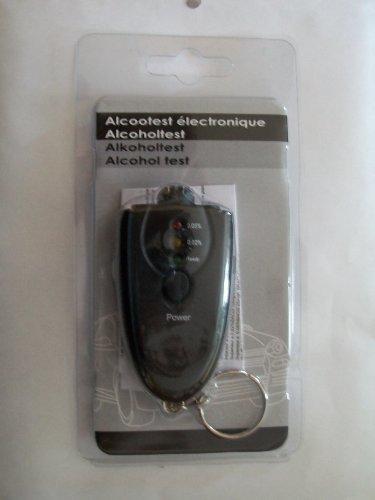 alcooltest électronique porte clé de couleur noir fonctionne avec deux piles type AAA non fournie