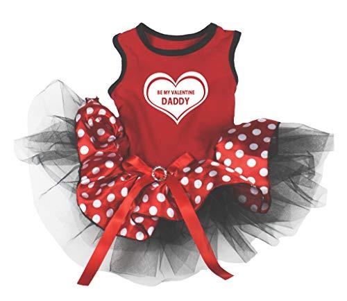 Petitebella Hundekleid, Aufschrift Be My Valentine Daddy, Rot