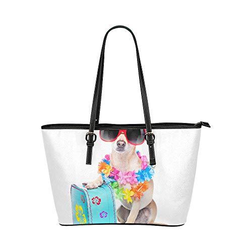 Happy Suitcase Dog Puppy Große Leder Tragbare Top Griff Hand Totes Taschen Kausalen Handtaschen Mit Reißverschluss Schulter Shopping Geldbörse Gepäck Organizer Für Lady Girls Womens (Hobo Kostüm Zubehör)