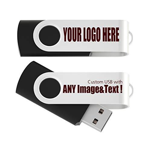 25 Stück Individuell Personalisiert USB Stick 2GB Werbeartikel Mit Firmen Logo Druck - USB 2.0 Schwarz -