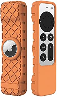 LYWHL for Apple TV 4K 2021 Remote Silicone Cover Case with AirTag Sleeve, Anti-Slip Anti-Scratch Shockproof Fu