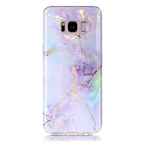 Samsung Galaxy S8 / G950 Hülle Silikon Marmor, Lomogo Schutzhülle Stoßfest Kratzfest Handyhülle Case mit Marmormuster für Samsung Galaxy S8 - LOYHU20093 Violett