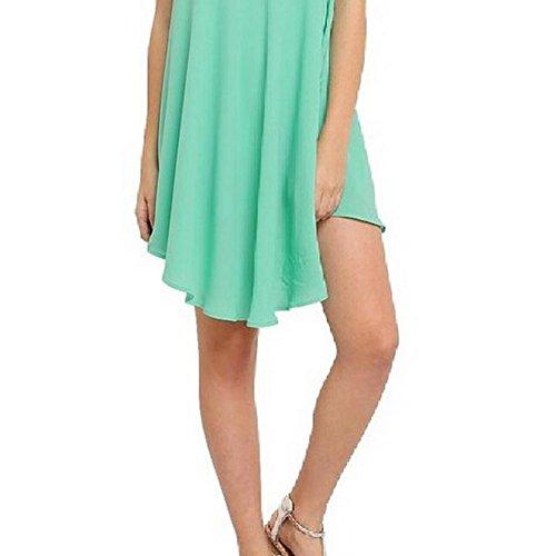 Demarkt V Ausschnitt Sommerkleid Strandkleid Elegant Schulterfrei Damen Chiffon gemütlich und atmungsaktiv Hellgrün XXL Hellgrün x XL