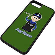 Personalised Gift - Police Community Support Officer iPhone 8 Plus / iPhone 7 Plus Case (Police Design Theme, Colour Options) - Any Name / Message on Your Unique - PCSO - Brown / Brunette Hair Policewoman Hat Cap