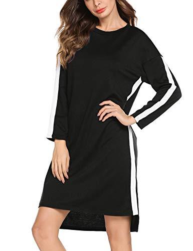 Nachthemd Damen Nachtkleid warm Lang Schlafkleid Schwangere Schlafanzug Langarmshirt Schlafshirt