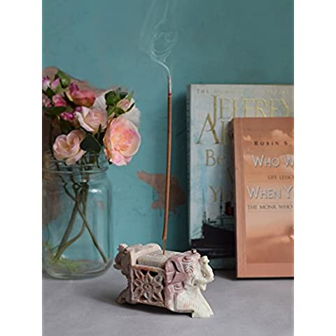 Store Indya, Mano naturale scavata possessore di incenso Stick Cono Ash Catcher Fragranza Accessori con elefante Designs