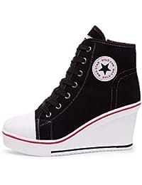 Qimaoo Damen Keilabsatz Schuhe Mädchen Canvas Sneaker Schuhe für Sport Freizeit Schwarz Pink Rot Weiß