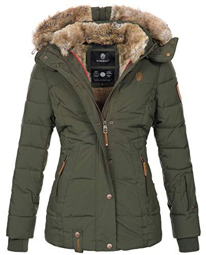 Marikoo warme Damen Winter Jacke Winterjacke Steppjacke gefüttert Kunstfell B658 [B658-Nek-Olive-Gr.L]