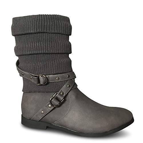 Schuhtraum Damen Stiefeletten Strick Boots Stiefel gefüttert flach Herbst Winter ST2912