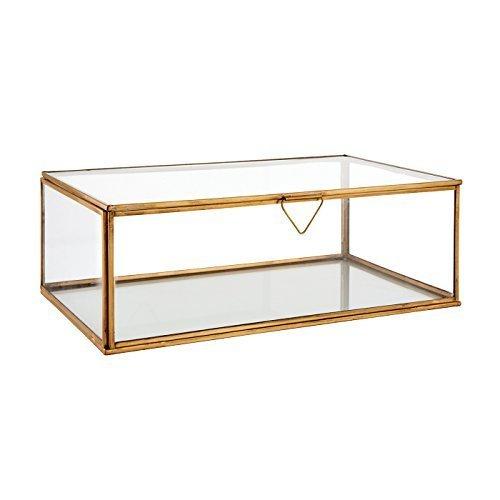 ENDON Atwood medium Vase durchsichtiges Glas & gealterte Kupferplatte H:310mm Durchmesser: 180mm