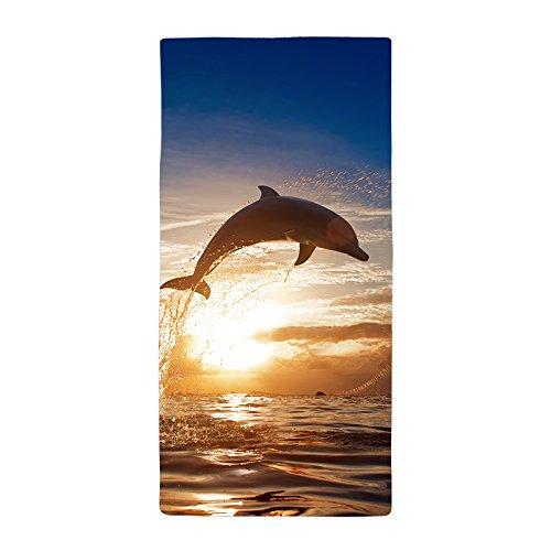 warrantyll Personalisierte sommer Sonnenuntergang Springender Delfin Dick Weiches Mikrofaser Strand Handtuch 50* 100cm # 2 (Tommy Bahamas-strand-handtücher)