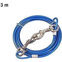 Crewell - Juego de Cables de Sujeción para Mascotas, Correa en Espiral, para Yarda, Camping, al Aire Libre, Azul, 3 m