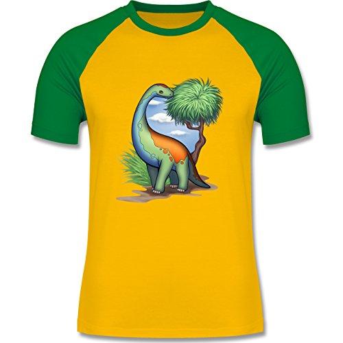 Sonstige Tiere - Dino - Langhals - zweifarbiges Baseballshirt für Männer Gelb/Grün