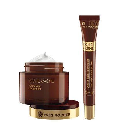 Yves Rocher RICHE CRÈME Pflege-Set regenerierende Intensivpflege, mildert Falten, Gesichtspflege-Set mit Anti-Aging Creme & Augenpflege -