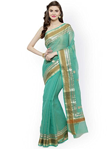 Indian Handicrfats Export Geroo Jaipur Green Tissue Solid Kota Saree Tissue Silk Saree