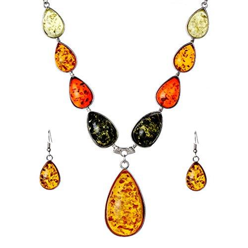 Yazilind Frauen Chic orange Bernstein Wassertropfen Ohrring Anhänger Kette Halskette Schmuck-Set Geschenk