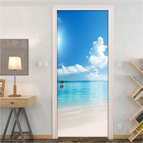 Blauer Himmel Weiß Wolken Sandy Beach Sea View Tür Aufkleber Wand Papier Schlafzimmer Wohnzimmer selbstklebende Wandtattoos Home Decoration 77x200cm