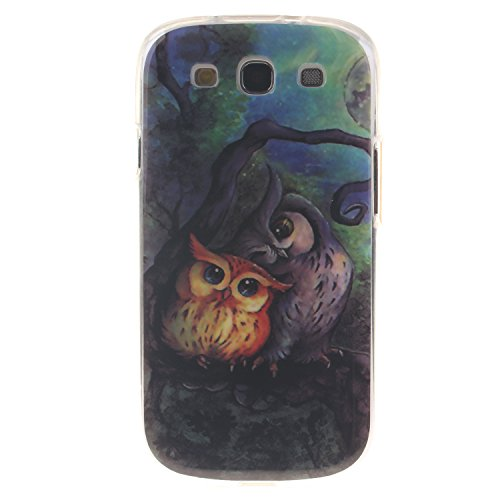 Anlike Samsung Galaxy S3 Hülle, TPU Silikon Gel Schutzhülle / Schutz Hülle / Handy Hülle / Handytasche / Silikon Hülle Case / Flexibel Handy Tasche Cover für Samsung Galaxy S3 /I9300 (4,8 Zoll) - Eule