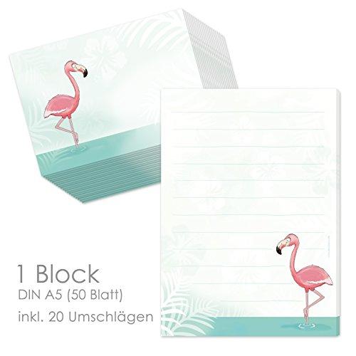 Schreibblock/Briefblock'FLAMINGO' DIN A5 (liniert 50 Blatt) inklusive 20 passenden Umschlägen/Briefpapier für Kinder/Briefpapierset Kinder/Briefpapier für Mädchen