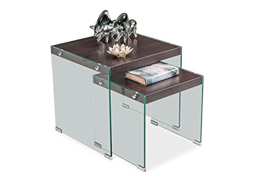 Durian End Table (Glossy Finish, Dark Brown)