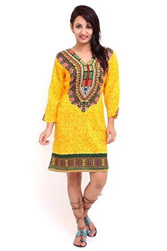 Miss Lavish Damen Tunika Kleid Mehrfarbig Mehrfarbig 36-44 Gelb