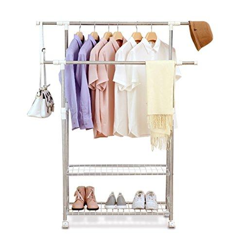 Einstellbare doppelstöckige Kleiderstange, Rollfalten Kleiderständer, Doppel-Schuhregal, 91cm-160cm * W43 * H90-160cm, (Edelstahl)