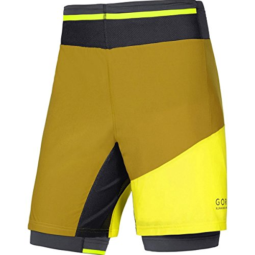 GORE Operation WEAR Herren 2 in 1 Laufshorts und Tights, GORE Selected Fabrics, FUSION 2in1 Shorts, Größe XXL, Goldbraun/Gelb, TSTULT