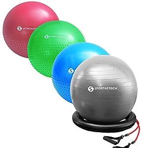 Sportastisch Gymnastikball Vergleichssieger¹ Workout Ball Massage Gym Ball mit Pumpe & E-Book, Großer Pilates Ball Fitnessball 55cm, Büro Sitzball mit biszu 3 Jahren Garantie² (65cm/75cm)