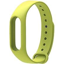 COOSA Correa de Recambio Brazalete Extensibles coloridos impermeables para reemplazo Pulsera XIAOMI Wireless Recambio para Pulsera Inteligente XIAOMI MI band 2 (sin Rastreador de actividad) (kaffir lima, para xiaomi pulsera inteligente 2)