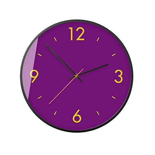 C.MeShKeo clock C-Bin1 Mute Wanduhr, 30-35.5CM Glasoberfläche Metallrahmen Wanduhr Restaurant Hotel Coffee Shop Wanduhr mehr Dekoration (Farbe : Purple, größe : 35.5 * 35.5CM)