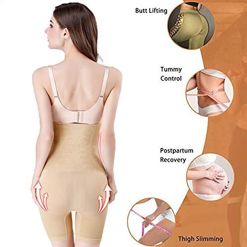 Biddtle Shapewear Damen Miederhosen Bauch Weg Figurformender Hohe Taille Push Up Miederslip Miederpants Body Shaper,Beige,XL - 3