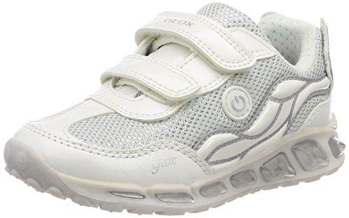 Geox Mädchen J Shuttle  Low-top C Sneaker, Silber (White/Silver), 31 EU