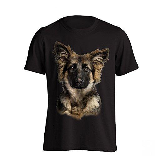 The T-Shirt Factory - Maglietta con Pastore Tedesco - Uomo (S) (Nero)