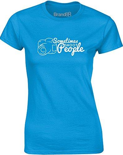 Brand88 - Sometimes I Shoot People, Gedruckt Frauen T-Shirt Türkis/Weiß