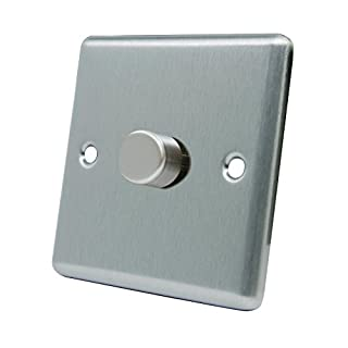 Light Dimmer Switch 1 Gang 400W - Satin Chrome - Square - 10 Amp Single 1 Gang 2 Way