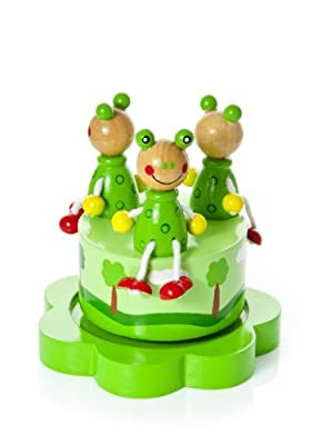 Music Box for Babies - Wooden Musical Green Frog Playing Pop Goes the Weasel Gift for Baby Boy or Girl