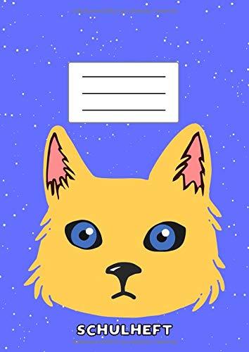 Schulheft: Linierter DIN A4 Katzen Schulblock ohne Rand für Schüler, Schulkinder, Erstklässler & Grundschüler mit Stundenplan, Notenliste & extra Platz für Hausaufgaben   Insgesamt 110 Seiten -