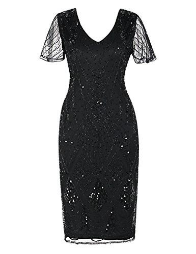 PrettyGuide Damen Charleston Kleid 20er Jahre Pailletten Gatsby Kleid Kurzarm S Schwarz