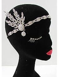 Silber Elfenbeinfarben Great Gatsby 1920er Kopfbedeckung Stirnband Flapper Daisy VTG Brautschmuck B30Stil der Zwanzigerjahre
